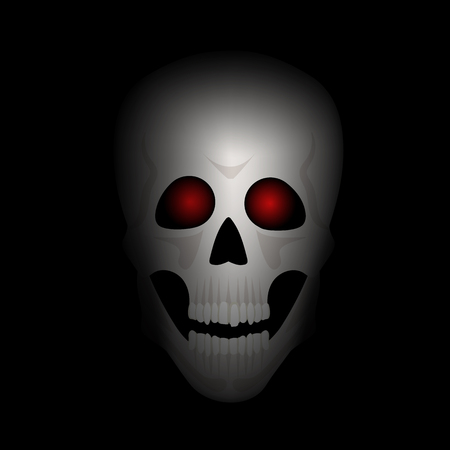 red eyes: Skull with red eyes in darkness. Halloween night