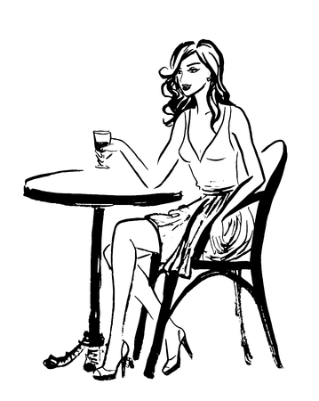 woman sketch: Fashion illustration of sitting woman in cafe of Paris. Ink outline sketch