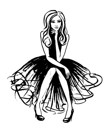 young woman sitting: Fashion illustration of sitting and thinking woman in evening dress. Ink outline sketch