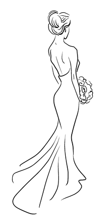 wedding dress: Fashion illustration of bride back with bouquet of flowers