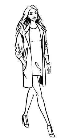 Fashion illustration of walking woman. Ink outline sketch