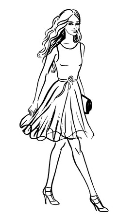 sexy young woman: Fashion illustration of walking woman. Ink outline sketch