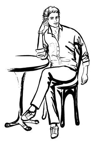 Bosquejo de la manera del hombre sentado en el café