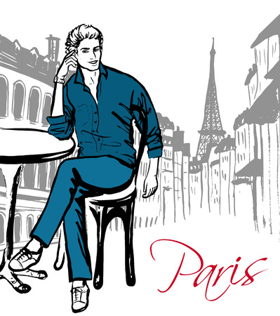 sketch drawing: Fashion sketch of man sitting in cafe in Paris Illustration