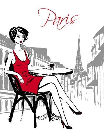 Mode Skizze Frau sitzt im Kaffeehaus und Wein trinken