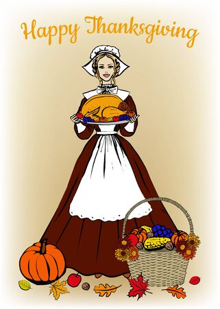 woman holding card: Happy Thanksgiving card with woman in traditional costume holding tray with turkey, fruits and vegetables