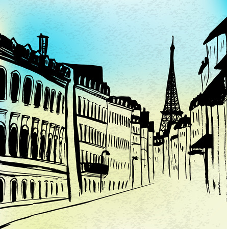 tower: Street of Paris with Eiffel tower view. Watercolor and ink hand-drawn sketch. Illustration