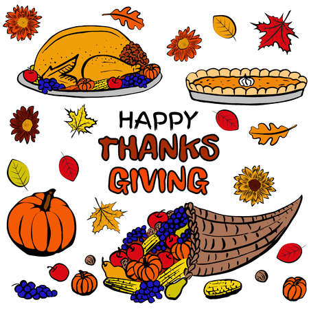 elote caricatura: Thanksgiving day dinner set with roasted turkey, pumpkin pie, cornucopia, fruits and vegetables