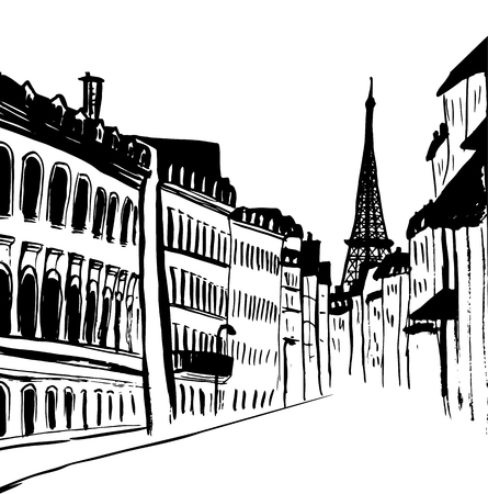Street of Paris with Eiffel tower view. Ink hand-drawn sketch. Ilustracja