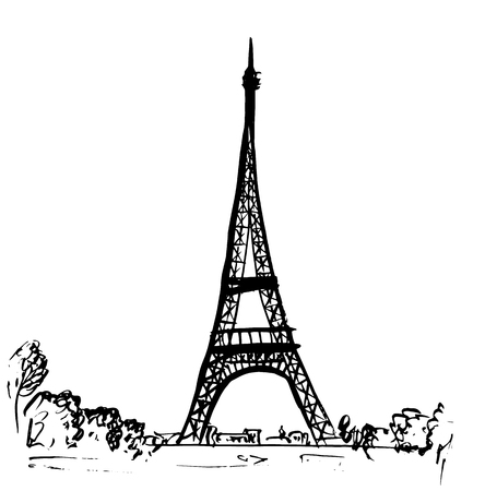 sketch drawing: Eiffel tower in Paris, France. Hand-drawn ink sketch Illustration