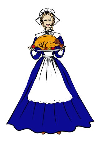 pilgrim costume: Thanksgiving  woman in traditional costume holding tray with turkey, fruits and vegetables