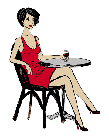 clip art wine: Fashion sketch of woman sitting in cafe and drinking wine