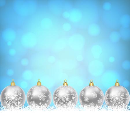 motivos navideños: Los copos de nieve frontera con bolas de plata de la Navidad en fondo azul brillante