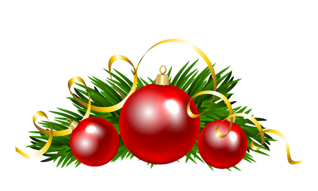christmas tree branch: Christmas balls with fir tree branch. Clip art