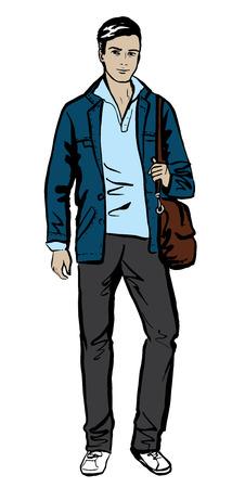 standing man: Fashion sketch of man walking on street Illustration