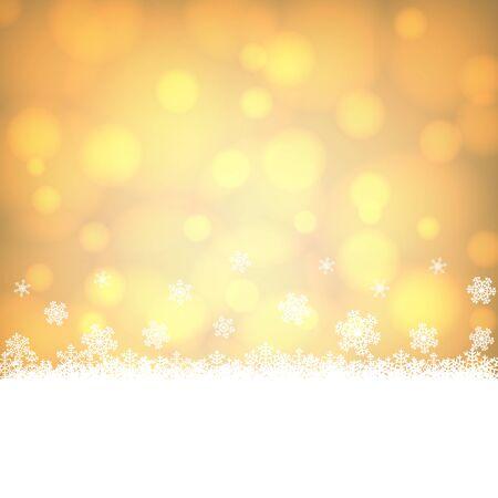 christmas snowflakes: Christmas snowflakes border with shiny golden background
