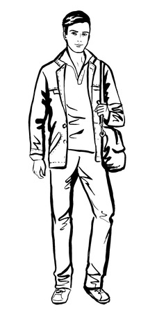 Fashion sketch of man walking on street Illustration