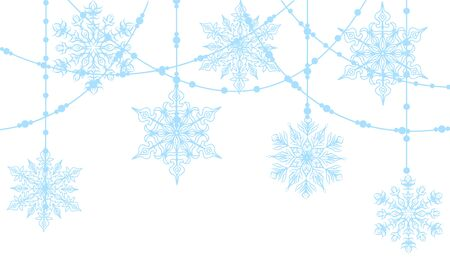 blue snowflakes: Christmas decoration with blue snowflakes isolated on white Illustration
