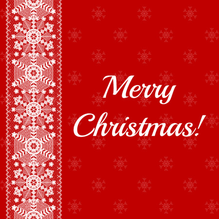 Christmas card with lace snowflakes pattern border