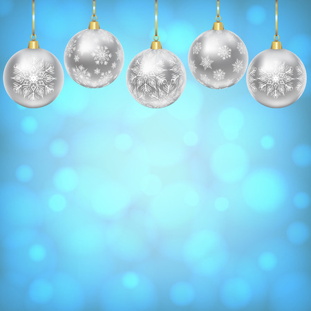 gold silver: Christmas card with silver balls with snowflakes ornament Illustration