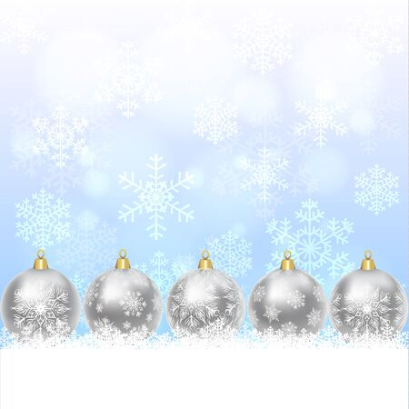 silver backgrounds: Christmas card with silver balls with snowflakes ornament Illustration