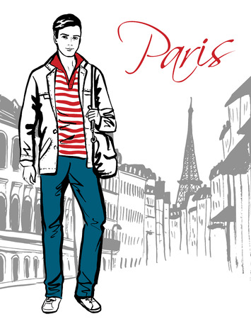 fashion design: Fashion sketch of man walking on street of Paris