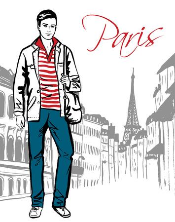 fashion: Mode-Skizze des Menschen auf der Straße von Paris zu Fuß