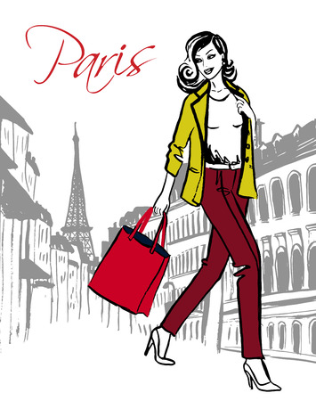 fashion drawing: Happy smiling woman with shopping bag in Paris