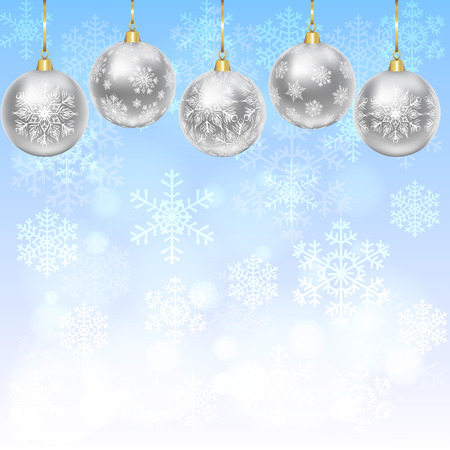 silver backgrounds: Christmas card with silver balls with snowflakes ornament on blue background Illustration