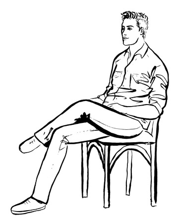 Fashion outline illustration of man sitting in cafe. Ink hand drawn sketch isolated on white. Clip art