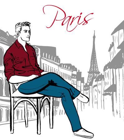 Fashion illustration of man sitting in cafe in Paris. Hand drawn ink sketch.
