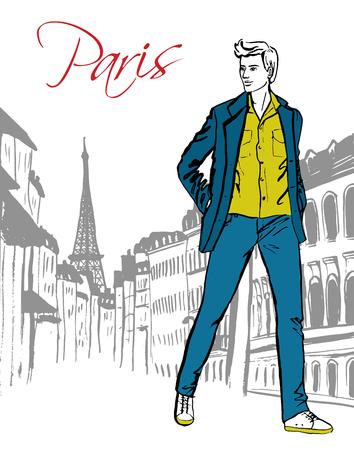Ilustración de la manera del hombre que camina en la calle de París. Dibujado a mano bosquejo de la tinta.