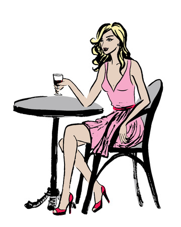 young lady: Fashion illustration of sitting woman in cafe of Paris. Ink sketch isolated on white. Clip art.