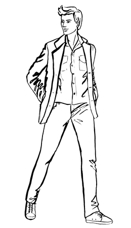 fashion design sketch: Illustration of standing handsome man. Fashion outline ink hand drawn sketch isolated on white. Clip art
