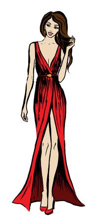 anochecer: Bosquejo de la manera de la mujer joven y bella en vestido de noche largo de color rojo jugando con sus pelos. tinta mano dibujado boceto aislado en blanco. Clipart