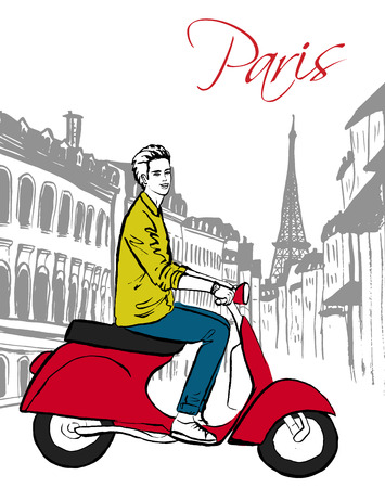 paris street: Beautiful young man driving scooter in Paris street. Fashion ink hand drawn sketch.