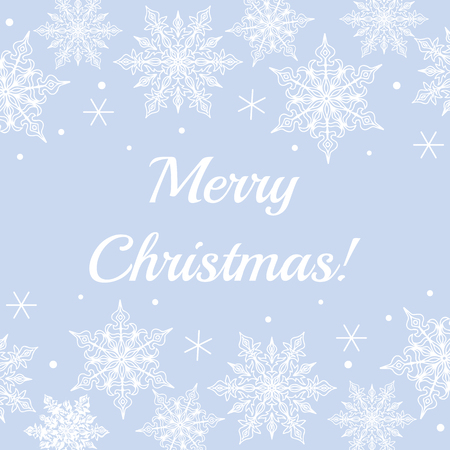 vintage lace: Christmas card with lace snowflakes pattern border on blue background with text Merry Christmas Illustration