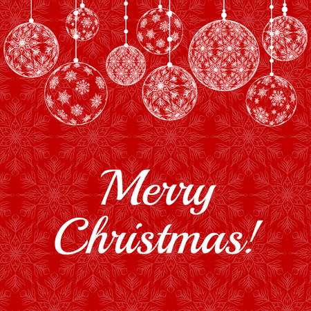 copo de nieve: Tarjeta de Navidad con copos de nieve de encaje patrón de la frontera en fondo rojo con el texto Feliz Navidad Vectores