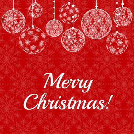 schneeflocke: Weihnachtskarte mit Spitze Schneeflocken-Muster Grenze auf rotem Hintergrund mit Text Frohe Weihnachten Illustration