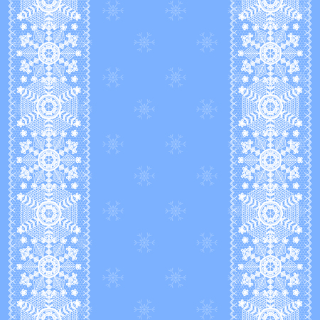 blue border: Christmas card with lace snowflakes pattern border on blue background