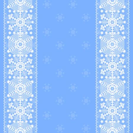 encaje: Tarjeta de Navidad con copos de nieve de encaje patr�n de la frontera en el fondo azul Vectores