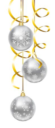 snowflakes: Christmas silver balls with snowflakes pattern isolated on white. Clip art Illustration