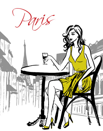 Fashion illustration of woman sitting in cafe and drinking wine. Hand drawn ink sketch. Ilustração