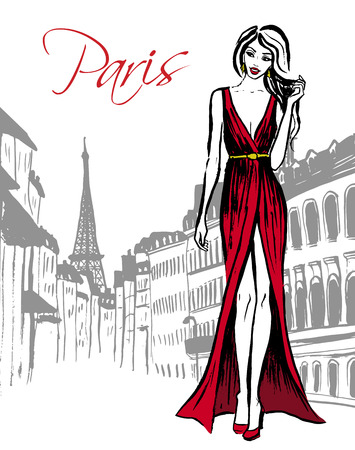 fashion shopping: Fashion illustration of woman in red evening dress walking on street of Paris. Hand drawn ink sketch. Illustration
