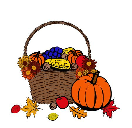 fruit basket: Thanksgiving day hand drawn ink illustration with autumn fruits and vegetables in basket
