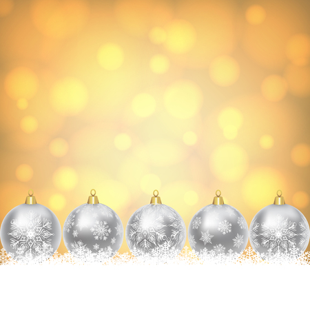 silver backgrounds: Christmas card with silver balls with snowflakes ornament on yellow shiny background