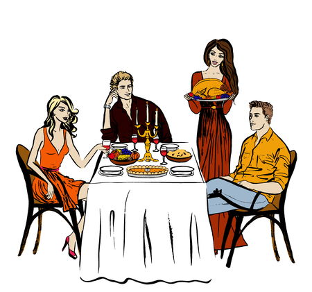 family holiday: Thanksgiving or Christmas dinner and woman with turkey. Hand drawn ink sketch isolated on white