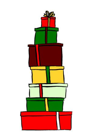 ink sketch: Stack of Christmas gifts. Ink hand drawn sketch isolated n white. Clip art