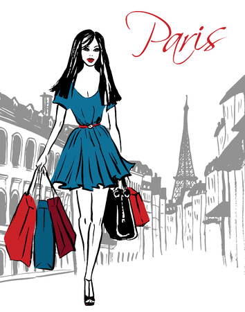 Fashion illustration of woman with shopping bags on street of Paris. Hand drawn ink sketch.