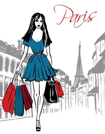 Mode-illustratie van de vrouw met boodschappentassen op straat van Parijs. Hand getrokken inkt schets.